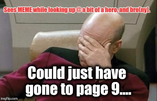 Captain Picard Facepalm Meme | Sees MEME while looking up @ a bit of a hero, and bro(ny). Could just have gone to page 9.... | image tagged in memes,captain picard facepalm | made w/ Imgflip meme maker