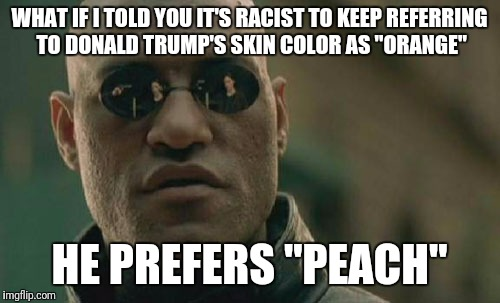 "Matrix Morpheus Meme | WHAT IF I TOLD YOU IT'S RACIST TO KEEP REFERRING TO DONALD TRUMP'S SKIN COLOR AS ""ORANGE"" HE PREFERS ""PEACH"" 