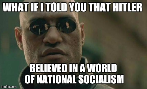 Just a little history for you socialists  | WHAT IF I TOLD YOU THAT HITLER BELIEVED IN A WORLD OF NATIONAL SOCIALISM | image tagged in memes,matrix morpheus,socialism,hitler,democrats | made w/ Imgflip meme maker