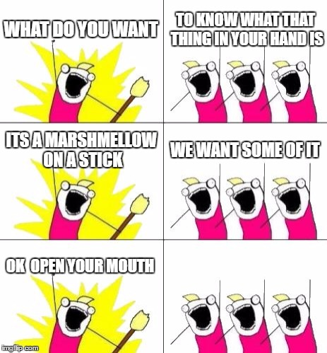 What Do We Want 3 Meme | WHAT DO YOU WANT TO KNOW WHAT THAT THING IN YOUR HAND IS ITS A MARSHMELLOW ON A STICK WE WANT SOME OF IT OK  OPEN YOUR MOUTH | image tagged in memes,what do we want 3 | made w/ Imgflip meme maker