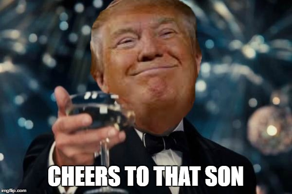 Trump cheers | CHEERS TO THAT SON | image tagged in trump cheers | made w/ Imgflip meme maker