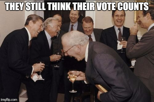 Laughing Men In Suits Meme | THEY STILL THINK THEIR VOTE COUNTS | image tagged in memes,laughing men in suits | made w/ Imgflip meme maker