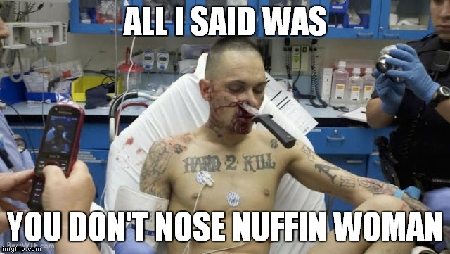 ALL I SAID WAS YOU DON'T NOSE NUFFIN WOMAN | made w/ Imgflip meme maker