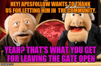 HEY! APESFOLLOW WANTS TO THANK US FOR LETTING HIM IN  THE COMMUNITY. YEAH? THAT'S WHAT YOU GET FOR LEAVING THE GATE OPEN | made w/ Imgflip meme maker