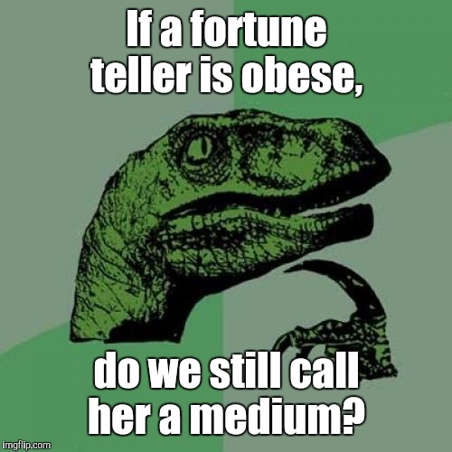 Philosoraptor Meme | If a fortune teller is obese, do we still call her a medium? | image tagged in memes,philosoraptor | made w/ Imgflip meme maker