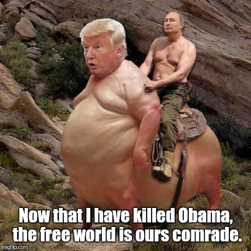 Trump | Now that I have killed Obama,  the free world is ours comrade. | image tagged in trump | made w/ Imgflip meme maker