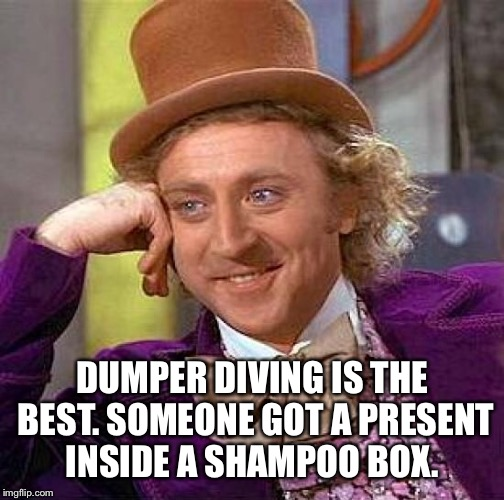 Creepy Condescending Wonka Meme | DUMPER DIVING IS THE BEST. SOMEONE GOT A PRESENT INSIDE A SHAMPOO BOX. | image tagged in memes,creepy condescending wonka | made w/ Imgflip meme maker