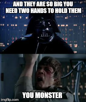 AND THEY ARE SO BIG YOU NEED TWO HANDS TO HOLD THEM YOU MONSTER | made w/ Imgflip meme maker