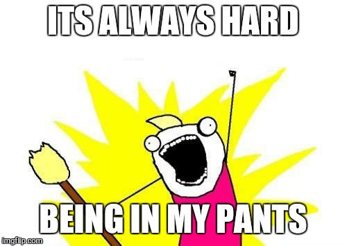 X All The Y Meme | ITS ALWAYS HARD BEING IN MY PANTS | image tagged in memes,x all the y | made w/ Imgflip meme maker