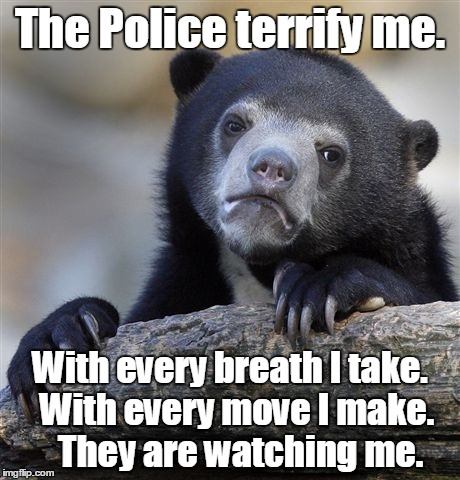 Confession Bear Meme | The Police terrify me. With every breath I take.  With every move I make.   They are watching me. | image tagged in memes,confession bear | made w/ Imgflip meme maker