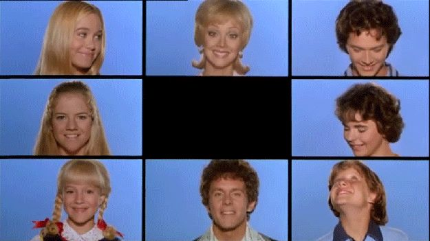 image of Brady Bunch in the same way we see our students while virtual teaching