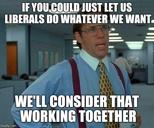 That Would Be Great Meme | IF YOU COULD JUST LET US LIBERALS DO WHATEVER WE WANT WE'LL CONSIDER THAT WORKING TOGETHER | image tagged in memes,that would be great | made w/ Imgflip meme maker