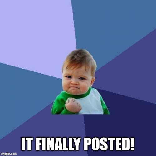 Success Kid Meme | IT FINALLY POSTED! | image tagged in memes,success kid | made w/ Imgflip meme maker