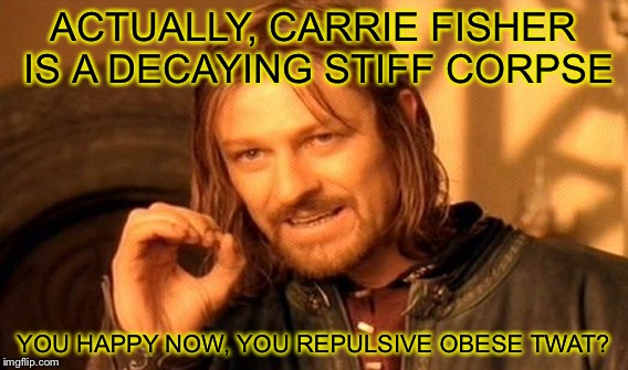 One Does Not Simply Meme | ACTUALLY, CARRIE FISHER IS A DECAYING STIFF CORPSE YOU HAPPY NOW, YOU REPULSIVE OBESE TWAT? | image tagged in memes,one does not simply | made w/ Imgflip meme maker