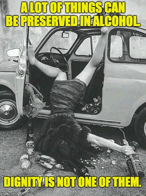 Drunk Girl  | A LOT OF THINGS CAN BE PRESERVED IN ALCOHOL. DIGNITY IS NOT ONE OF THEM. | image tagged in drunk girl | made w/ Imgflip meme maker