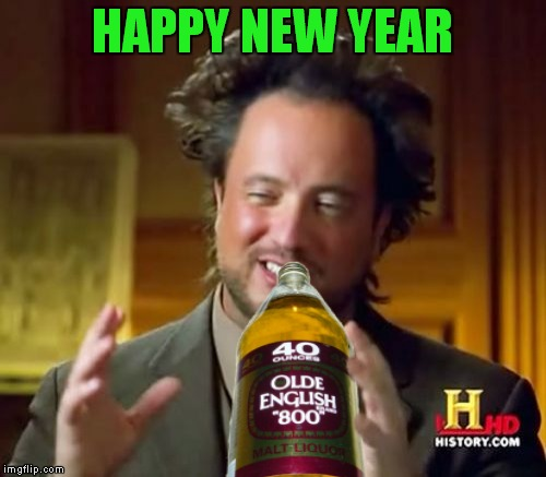 Warning: Drinking may cause aliens | HAPPY NEW YEAR | image tagged in giorgio tsoukalos,new years | made w/ Imgflip meme maker