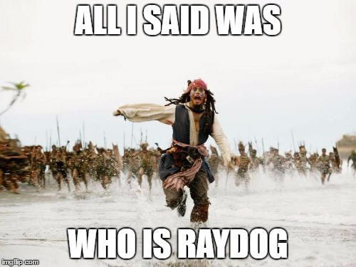 Jack Sparrow Being Chased Meme | ALL I SAID WAS WHO IS RAYDOG | image tagged in memes,jack sparrow being chased | made w/ Imgflip meme maker