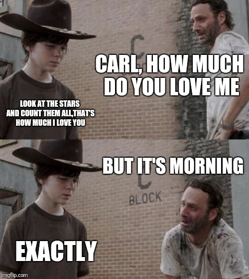 Rick and Carl Meme | CARL, HOW MUCH DO YOU LOVE ME LOOK AT THE STARS AND COUNT THEM ALL,THAT'S HOW MUCH I LOVE YOU BUT IT'S MORNING EXACTLY | image tagged in memes,rick and carl | made w/ Imgflip meme maker
