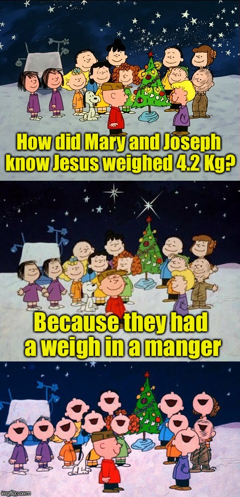 A Charlie Brown Christmas Pun  | How did Mary and Joseph know Jesus weighed 4.2 Kg? Because they had a weigh in a manger | image tagged in a charlie brown christmas pun | made w/ Imgflip meme maker
