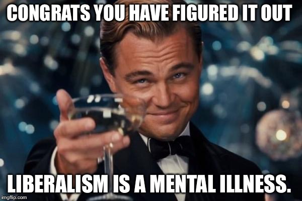 Leonardo Dicaprio Cheers Meme | CONGRATS YOU HAVE FIGURED IT OUT LIBERALISM IS A MENTAL ILLNESS. | image tagged in memes,leonardo dicaprio cheers | made w/ Imgflip meme maker