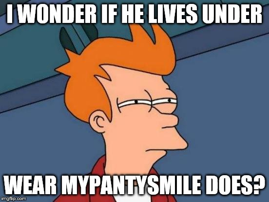 Futurama Fry Meme | I WONDER IF HE LIVES UNDER WEAR MYPANTYSMILE DOES? | image tagged in memes,futurama fry | made w/ Imgflip meme maker