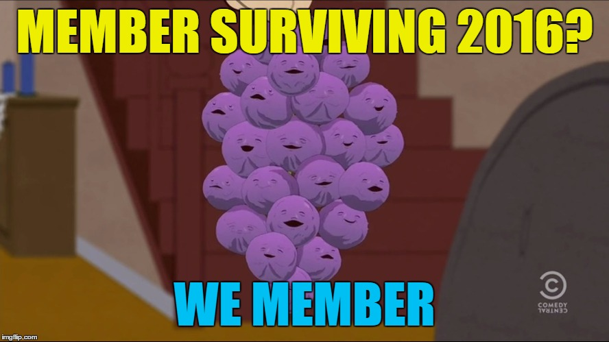 Member Berries Meme | MEMBER SURVIVING 2016? WE MEMBER | image tagged in memes,member berries | made w/ Imgflip meme maker