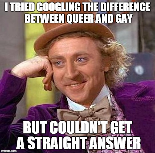 Creepy Condescending Wonka Meme | I TRIED GOOGLING THE DIFFERENCE BETWEEN QUEER AND GAY BUT COULDN'T GET A STRAIGHT ANSWER | image tagged in memes,creepy condescending wonka | made w/ Imgflip meme maker