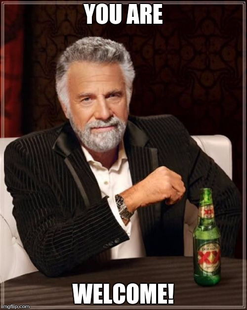 The Most Interesting Man In The World Meme | YOU ARE WELCOME! | image tagged in memes,the most interesting man in the world | made w/ Imgflip meme maker