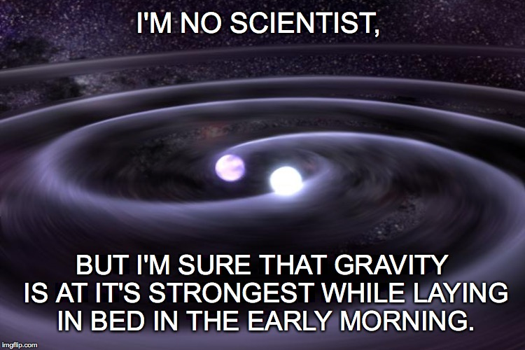 Early Morning Gravity | I'M NO SCIENTIST, BUT I'M SURE THAT GRAVITY IS AT IT'S STRONGEST WHILE LAYING IN BED IN THE EARLY MORNING. | image tagged in gravity waves | made w/ Imgflip meme maker