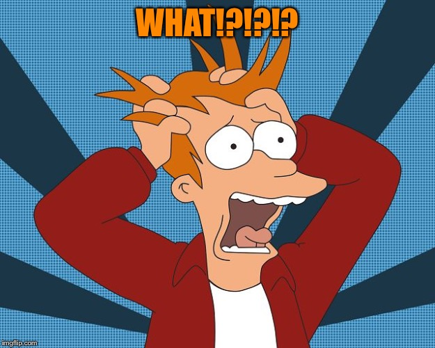 Fry Losing His Mind | WHAT!?!?!? | image tagged in fry losing his mind | made w/ Imgflip meme maker