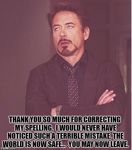 Face You Make Robert Downey Jr Meme | THANK YOU SO MUCH FOR CORRECTING MY SPELLING.  I WOULD NEVER HAVE NOTICED SUCH A TERRIBLE MISTAKE. THE WORLD IS NOW SAFE...  YOU MAY NOW LEA | image tagged in memes,face you make robert downey jr | made w/ Imgflip meme maker