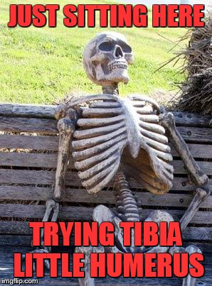 sigh....16 hours between submissions... |  JUST SITTING HERE; TRYING TIBIA LITTLE HUMERUS | image tagged in memes,waiting skeleton | made w/ Imgflip meme maker