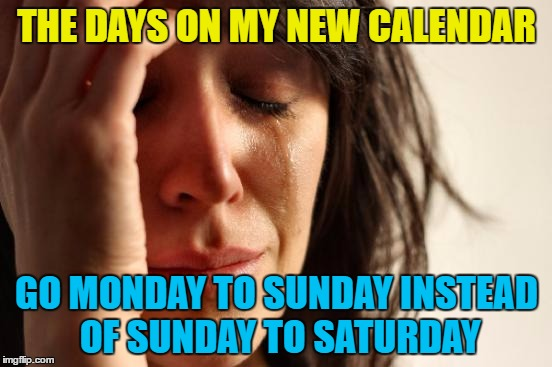 I'll get used to it - by December :) | THE DAYS ON MY NEW CALENDAR GO MONDAY TO SUNDAY INSTEAD OF SUNDAY TO SATURDAY | image tagged in memes,first world problems,calendar,days,change | made w/ Imgflip meme maker