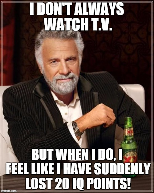 The Most Interesting Man In The World Meme | I DON'T ALWAYS WATCH T.V. BUT WHEN I DO, I FEEL LIKE I HAVE SUDDENLY LOST 20 IQ POINTS! | image tagged in memes,the most interesting man in the world | made w/ Imgflip meme maker