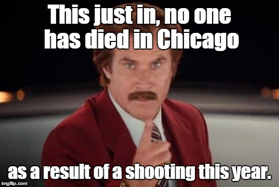 Burgundy | This just in, no one has died in Chicago as a result of a shooting this year. | image tagged in burgundy | made w/ Imgflip meme maker