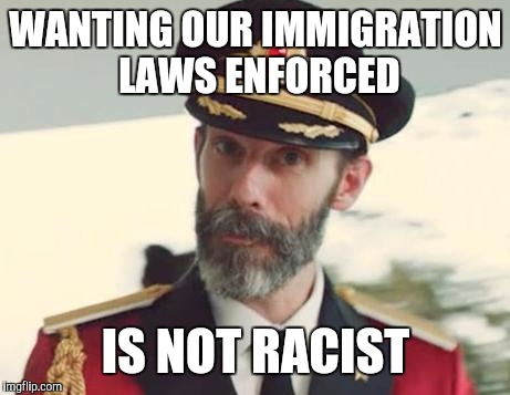 Captain Obvious | WANTING OUR IMMIGRATION LAWS ENFORCED IS NOT RACIST | image tagged in captain obvious | made w/ Imgflip meme maker