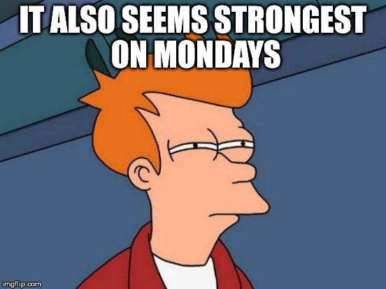 Futurama Fry Meme | IT ALSO SEEMS STRONGEST ON MONDAYS | image tagged in memes,futurama fry | made w/ Imgflip meme maker