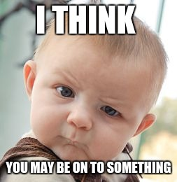 Skeptical Baby Meme | I THINK YOU MAY BE ON TO SOMETHING | image tagged in memes,skeptical baby | made w/ Imgflip meme maker