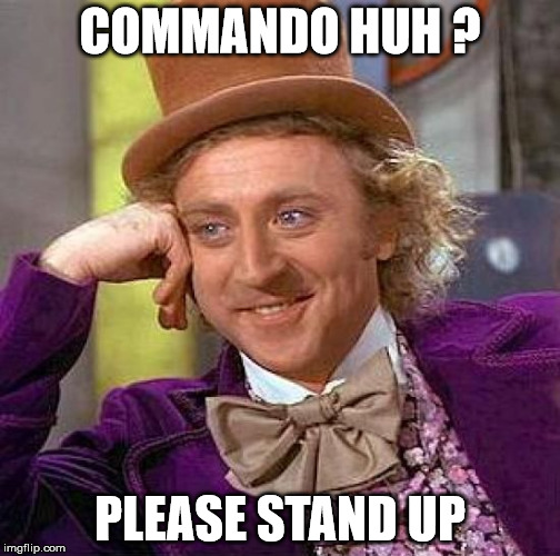 Creepy Condescending Wonka Meme | COMMANDO HUH ? PLEASE STAND UP | image tagged in memes,creepy condescending wonka | made w/ Imgflip meme maker