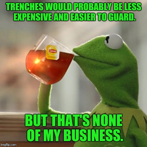But Thats None Of My Business Meme | TRENCHES WOULD PROBABLY BE LESS EXPENSIVE AND EASIER TO GUARD. BUT THAT'S NONE OF MY BUSINESS. | image tagged in memes,but thats none of my business,kermit the frog | made w/ Imgflip meme maker