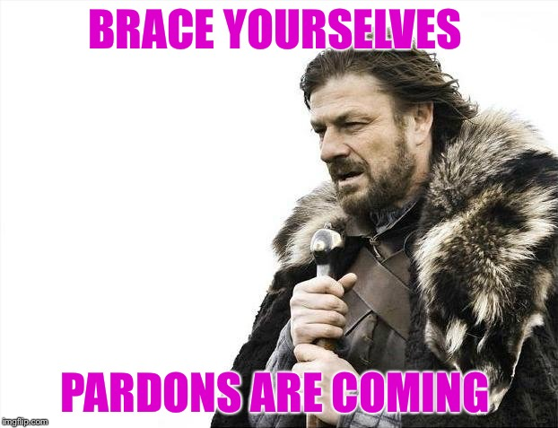 Will Hillary be one of them? | BRACE YOURSELVES PARDONS ARE COMING | image tagged in memes,brace yourselves x is coming,obama,hillary,trump,pardon | made w/ Imgflip meme maker
