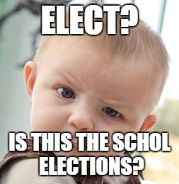 Skeptical Baby Meme | ELECT? IS THIS THE SCHOL ELECTIONS? | image tagged in memes,skeptical baby | made w/ Imgflip meme maker
