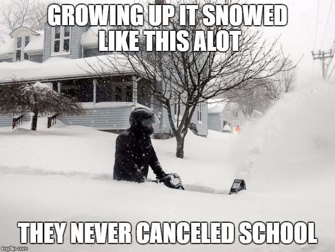 GROWING UP IT SNOWED LIKE THIS ALOT THEY NEVER CANCELED SCHOOL | made w/ Imgflip meme maker