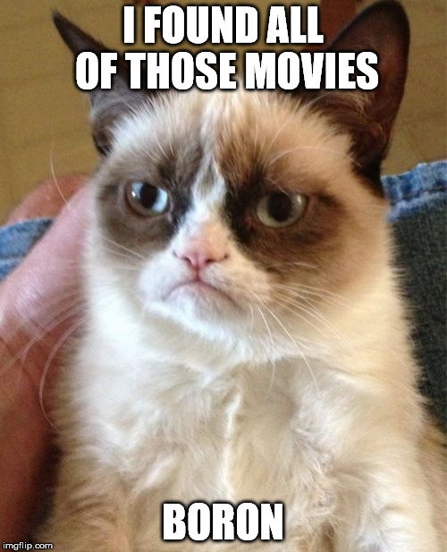 Grumpy Cat Meme | I FOUND ALL OF THOSE MOVIES BORON | image tagged in memes,grumpy cat | made w/ Imgflip meme maker