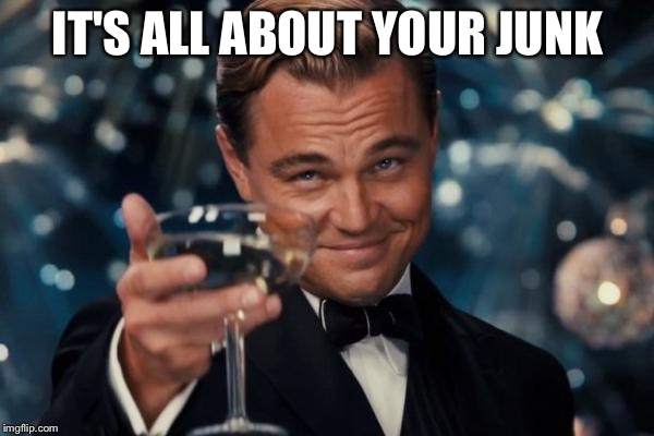 Leonardo Dicaprio Cheers Meme | IT'S ALL ABOUT YOUR JUNK | image tagged in memes,leonardo dicaprio cheers | made w/ Imgflip meme maker