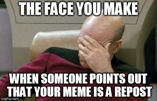 Captain Picard Facepalm Meme | THE FACE YOU MAKE WHEN SOMEONE POINTS OUT THAT YOUR MEME IS A REPOST | image tagged in memes,captain picard facepalm | made w/ Imgflip meme maker