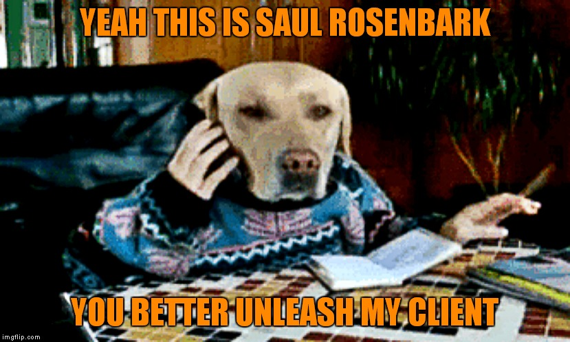 YEAH THIS IS SAUL ROSENBARK YOU BETTER UNLEASH MY CLIENT | made w/ Imgflip meme maker