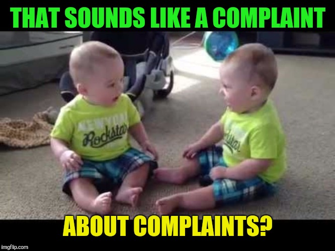 Twin sibs | THAT SOUNDS LIKE A COMPLAINT ABOUT COMPLAINTS? | image tagged in twin sibs | made w/ Imgflip meme maker