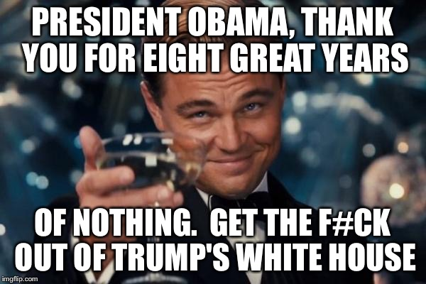 Leonardo Dicaprio Cheers Meme | PRESIDENT OBAMA, THANK YOU FOR EIGHT GREAT YEARS OF NOTHING.  GET THE F#CK OUT OF TRUMP'S WHITE HOUSE | image tagged in memes,leonardo dicaprio cheers | made w/ Imgflip meme maker