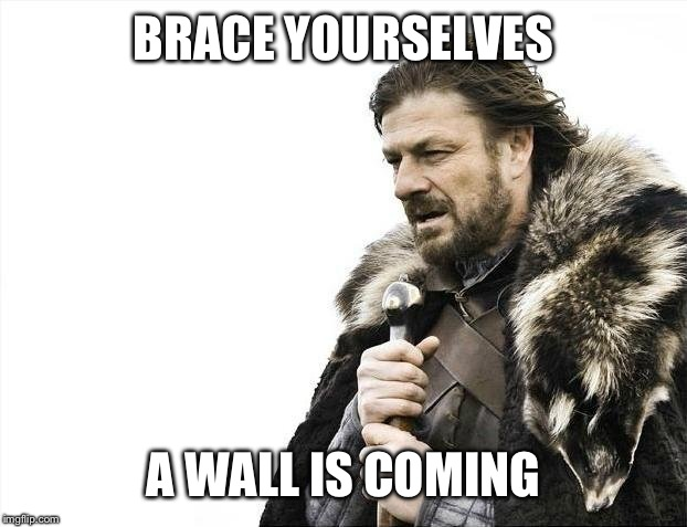 Brace Yourselves X is Coming Meme | BRACE YOURSELVES A WALL IS COMING | image tagged in memes,brace yourselves x is coming | made w/ Imgflip meme maker